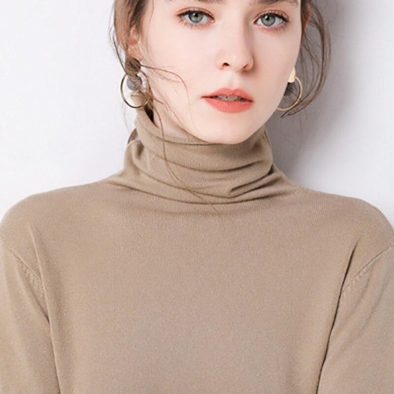 Suéteres elásticos de Cachemira para mujer de AECU, jerséis de cuello alto, Camisa lisa de manga larga de punto suave y ajustada para Otoño e Invierno 2019