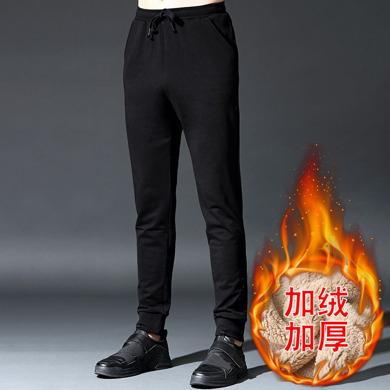 Pantalones de hombre Otoño e Invierno cachemir cálido más Cachemira espesar pantalones casuales haz pies pantalones de chándal pantalones tamaño M-5XL