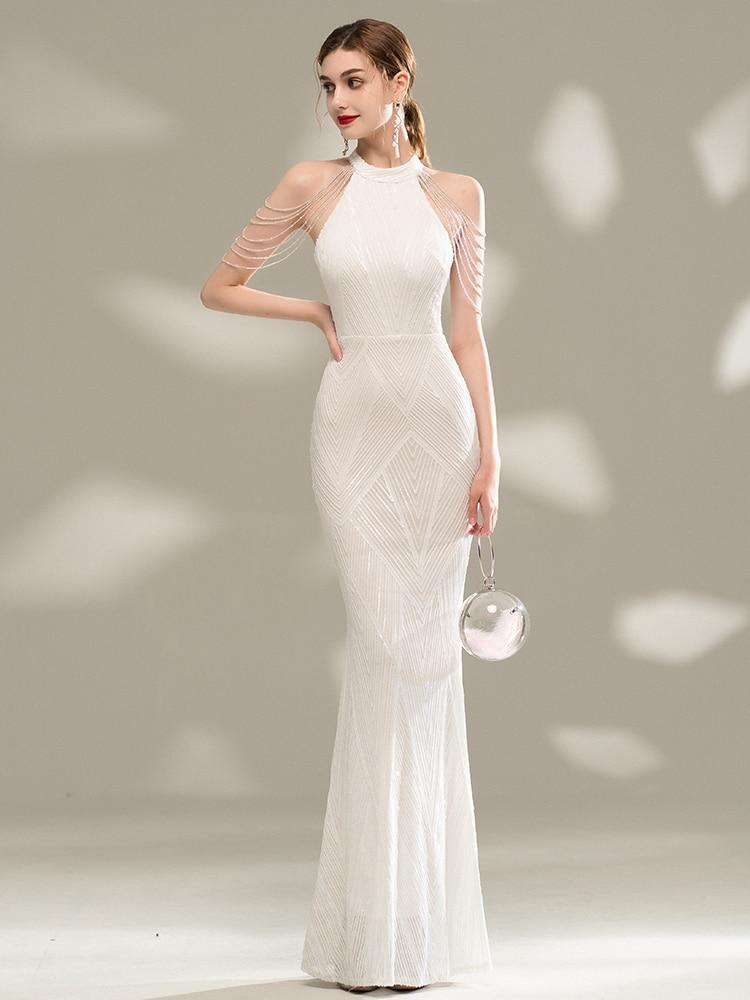 YIDINGZS Elegant Off Shoulder Sequin Evening Dress 2021 New White Bodycon Maxi Dress For Women Party