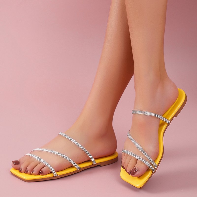 Size 41 New 2021 Summer Woman Flat Slippers Clear Transparent PVC Feminino Bohemian Beach Casual Chaussure Outside Slides Shoes