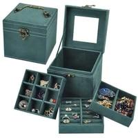square portable three layer jewelry box home desktop jewelry finishing birthday gift flannel jewelry storage jewelry rack
