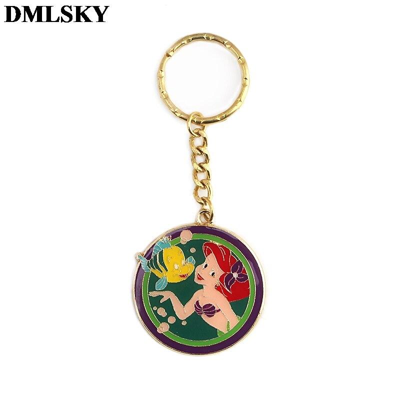 DMLSKY Fashion Mermaid alloy Key Chains Ring Gift For Women Girl Bag Charm Keychain Charm Keyring Jewelry M3802