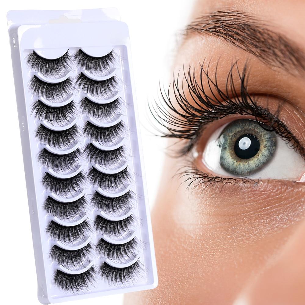10pairs 3D Mink Fake Lashes Natural False Eyelashes Thick Volume Eye Lashes Makeup Eyelash Extension