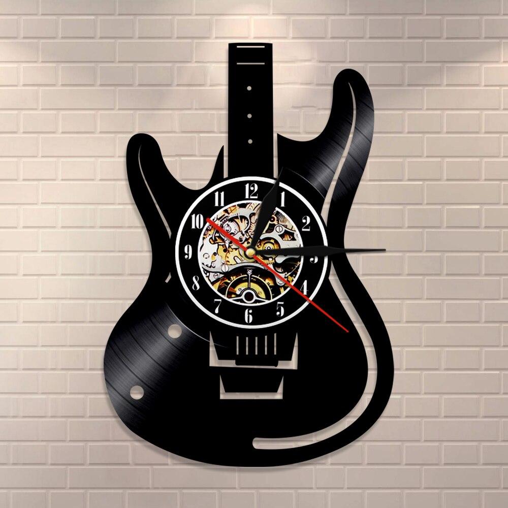 Guitar Wall Clock Guitarist Vintage Vinyl Record Wall Clock Rock n Roll Music Lover Studio Wall Art Decor Guitar Players Gift