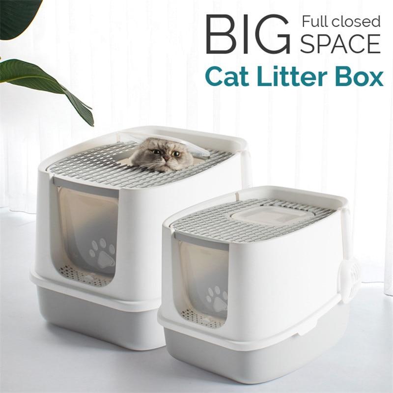 Контейнер для кошачьего туалета для домашних питомцев, полностью закрытый дезодорант от брызг, двухсторонний с лопаткой, вместительный лот...