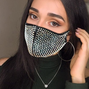 Bling Sequined Mask Decoration Elastic Mask Jewelry For Women Fashion Rhinestone Unisex For Halloween Costume Cosplay Face Mask