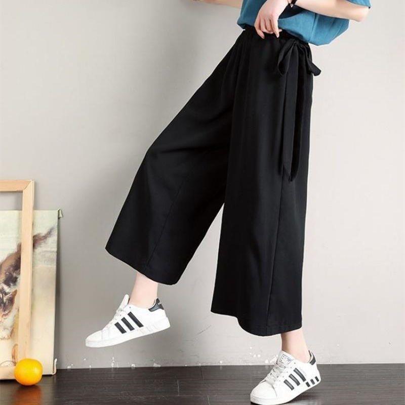 Брюки женские тонкие однотонные с завышенной талией, драпированные прямые свободные черные студенческие модные брюки большого размера, же...