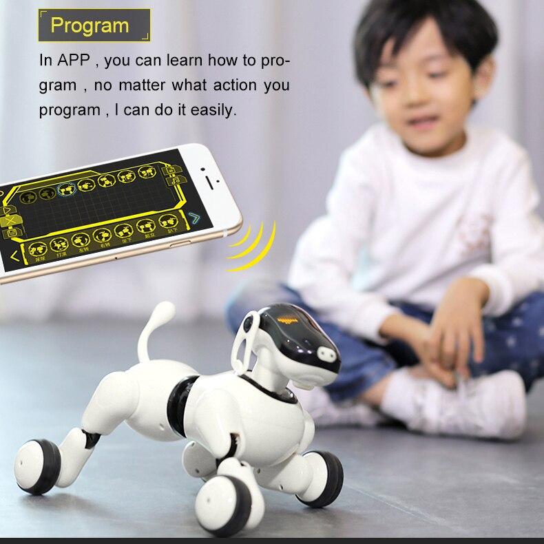Perro Robot Control de voz y aplicación AI, Robot AI Dog, juguetes interactivos, bailes, reproduce música, Control de movimiento, juguetes para niños