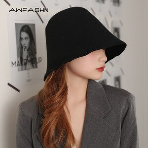 Solid Color Bucket Hat Women  Winter Warm Wool Fisherman Hat  Retro Red Sun Hat Fishing Hat  Foldable Ladies Hat Fashion Bowler