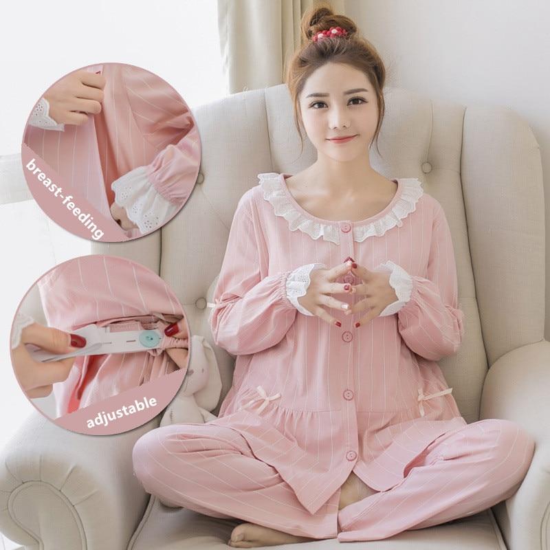Doce maternidade enfermagem pijamas rosa algodão amamentação pijamas para grávidas outono gravidez pijamas noite conjunto