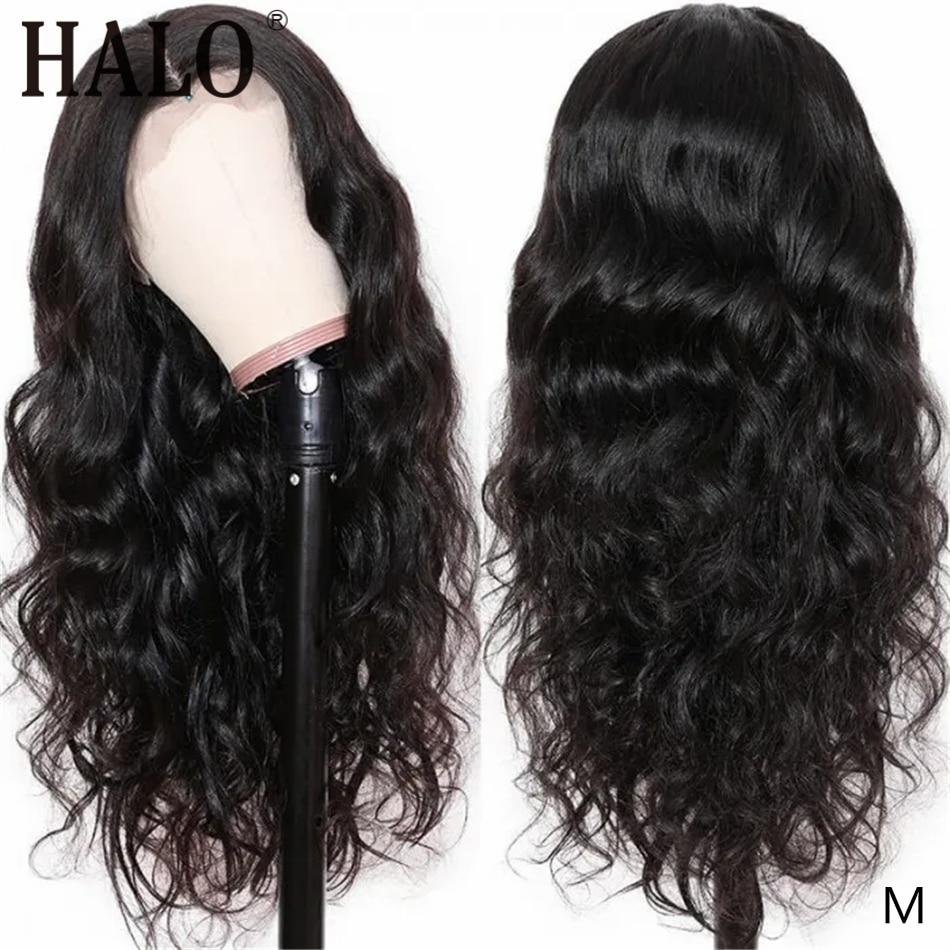 Peluca de cabello humano Frontal de encaje brasileño HALO Peluca de cuerpo ondulado de 13x4 peluca con malla Frontal ondulada completa 26 28 30 pulgadas pelucas onduladas de agua para mujeres negras