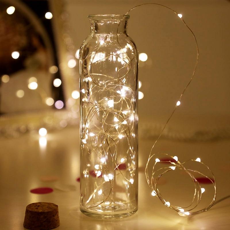 Adornos navideños para el hogar, 1m, 2m, 3m, 5m, 10m, cadena de luces LED estrellado, guirnalda LED de hadas, alambre de cobre para año nuevo, Natal