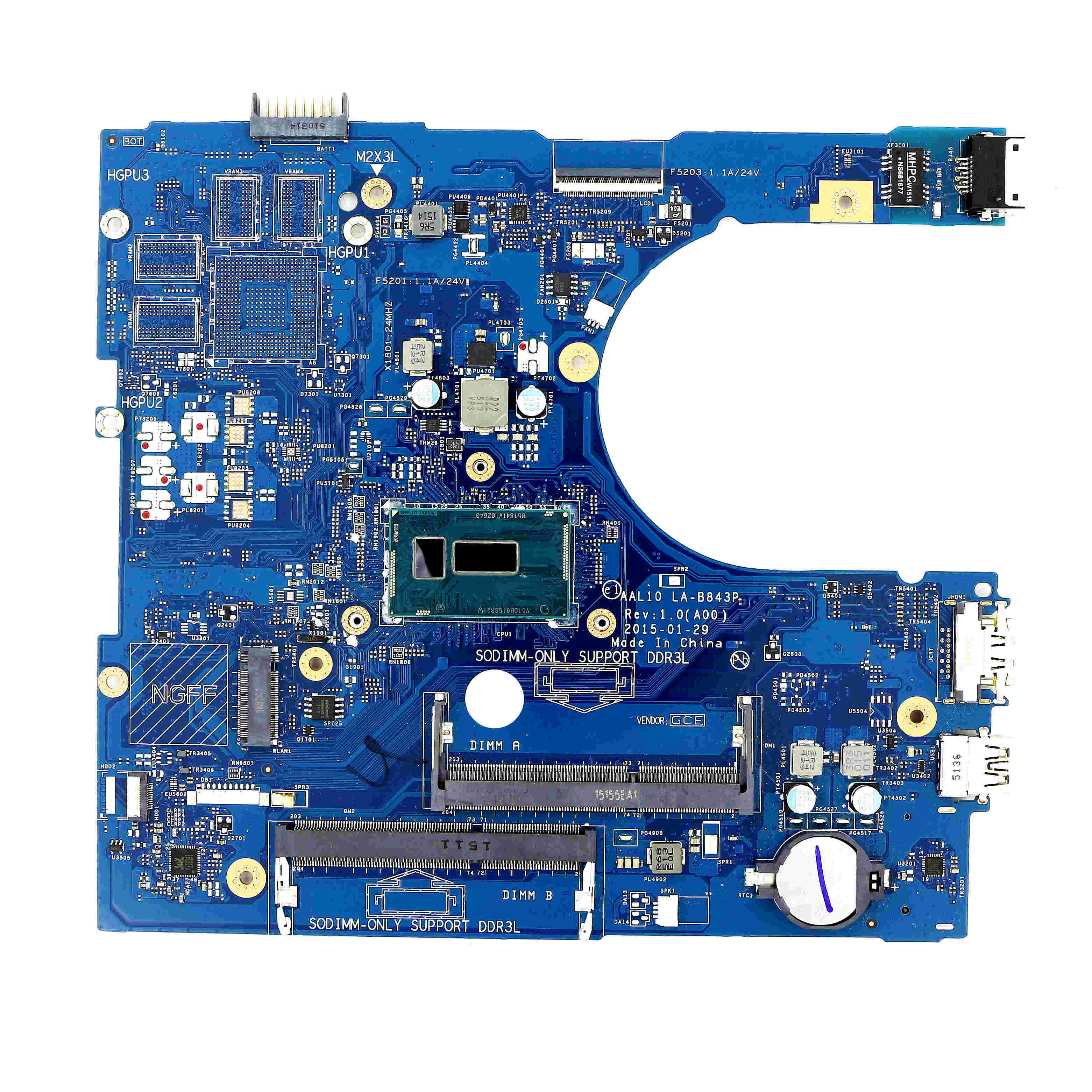 RC3PN-حقيقية Laptop العمل UMA DDR3L اللوحة AAL10 LA-B843P w/ i7-5500U لديل انسبايرون 15 5558 / 14 5458 / 17 5758