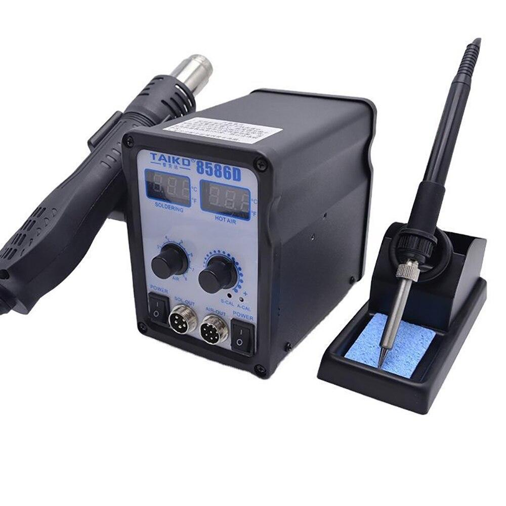 TAIKD 8586D Multifunctional 2-in-1 Hot Air Gun Soldering Station Rotating Air Digital Display Cooling Desoldering Station