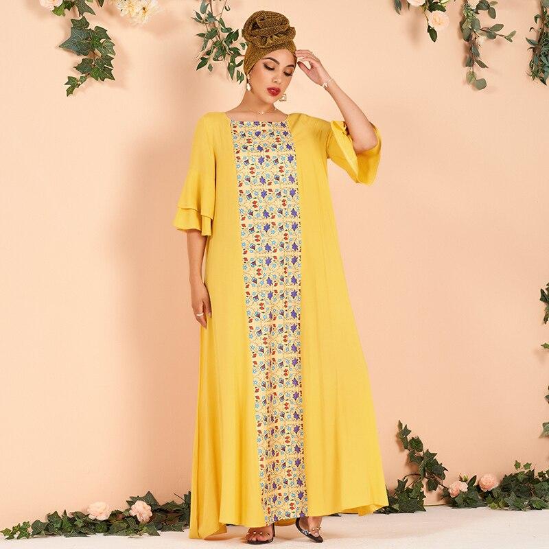 Женское платье с рукавами до локтя, желтое свободное платье макси с оборками и цветочным принтом, размера плюс, лето 2019   АлиЭкспресс
