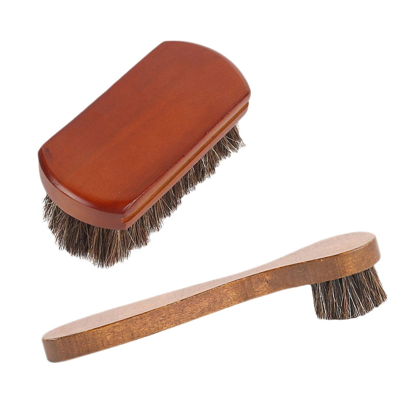 ¡Oferta! Cepillo para pulir los zapatos de 2 piezas cepillo para pelo de caballo de mango largo de madera conjunto de gamuza suave piel limpieza de zapatos y herramientas de eliminación de polvo