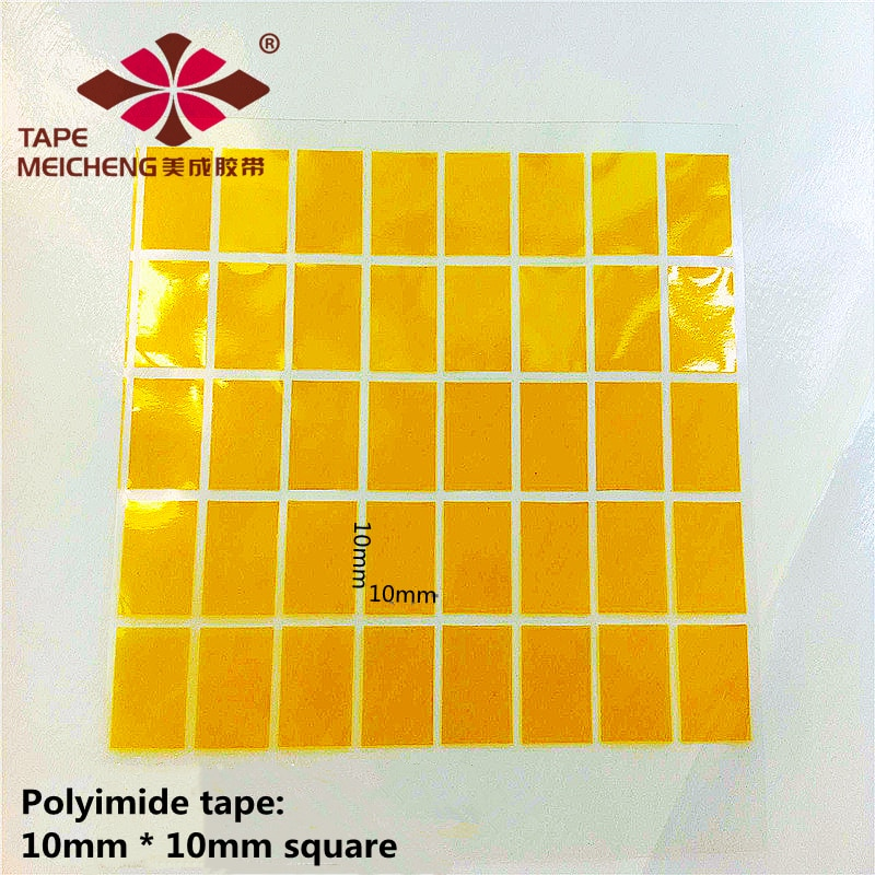 10000 pcs/Batch of Polyimide Film High Temperature Resistant Tape PI Length 10mm, Width 10mm Thickness 0.06mm Square