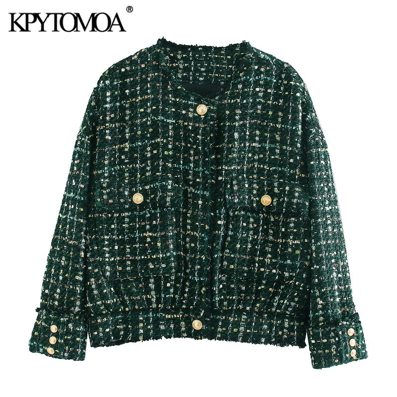 KPYTOMOA, moda 2020, chaqueta de Tweed deshilachada con botones, abrigo Vintage de cuello redondo, manga larga, bolsillos, prendas de vestir exteriores para mujer, Tops Chic