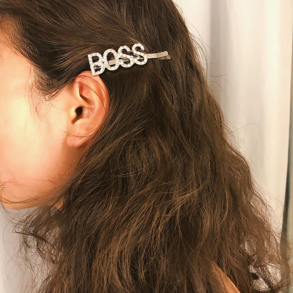 Женская заколка для волос с кристаллами, 1 шт., стразы, буквы, аксессуар для волос