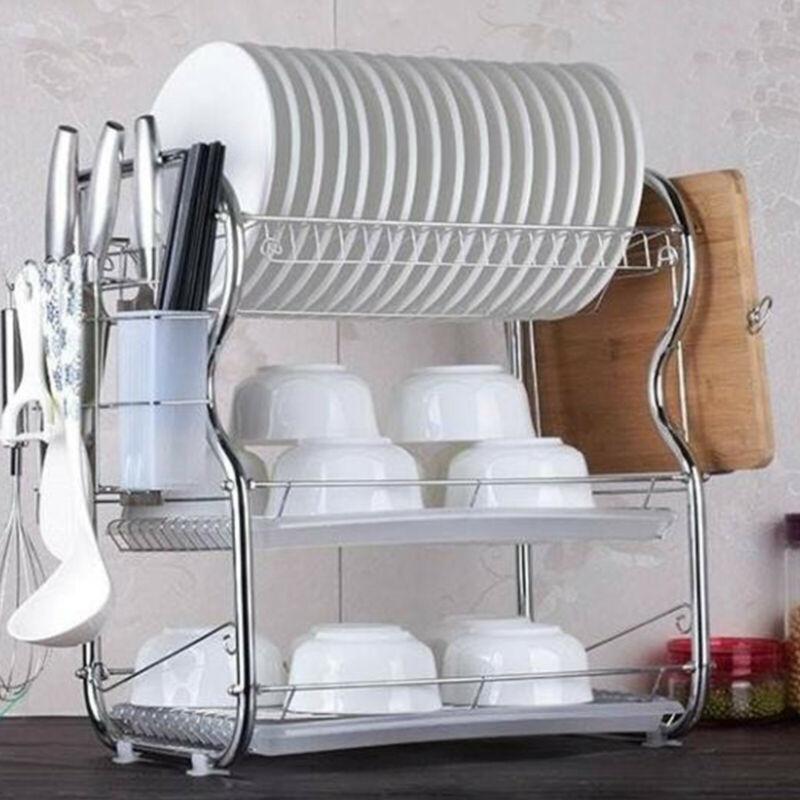 3 طبقات رف مطبخ طبق تجفيف بالوعة رف حوض غمس لوحات السكاكين الكؤوس حامل المطبخ تخزين الرف رفوف المطبخ
