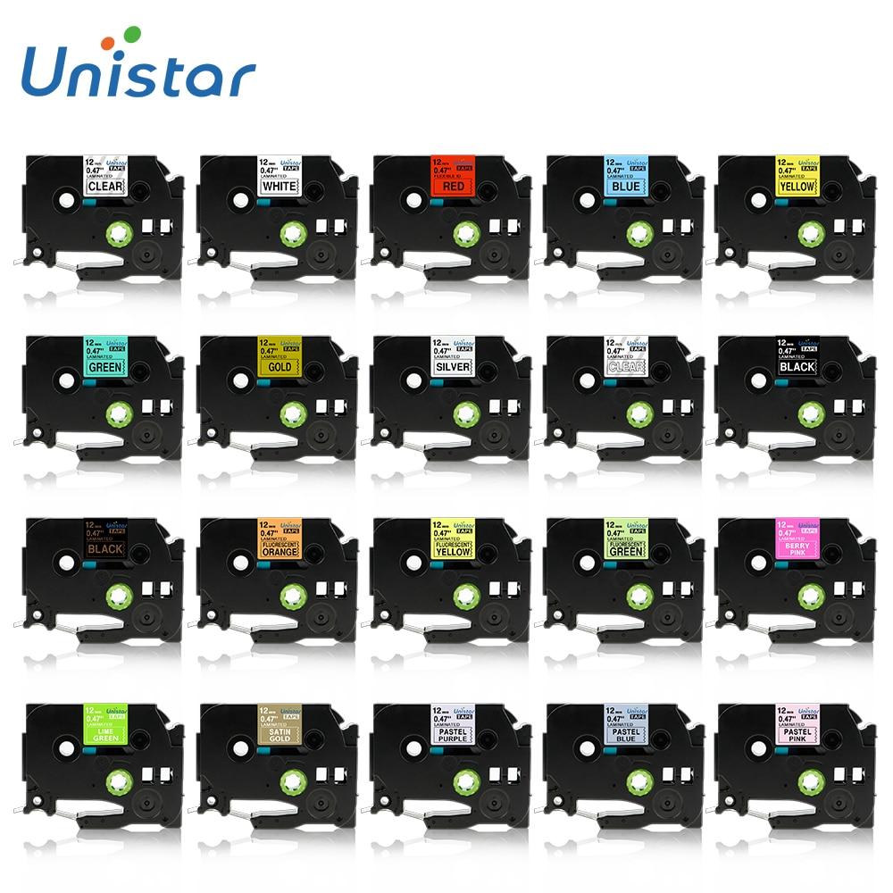 Unistar 231 131 631 12mm Label Tape Compatible for Brother Label Printer Black on White for Brother PT Labeler