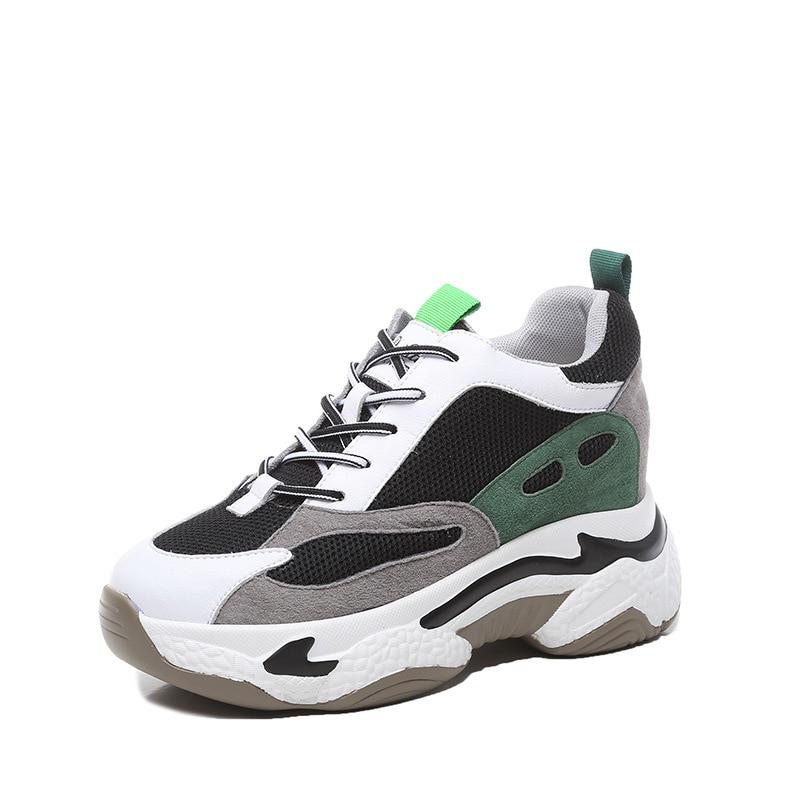 Zapatillas de deporte de piel auténtica para mujer, calzado de plataforma grueso...