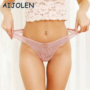 AIJOLEN 3Pcs/Lot Sexy Lace Thong Low Waist Lace Transparent Panties Women Hollow out Breathable G String Briefs Bow Underwear