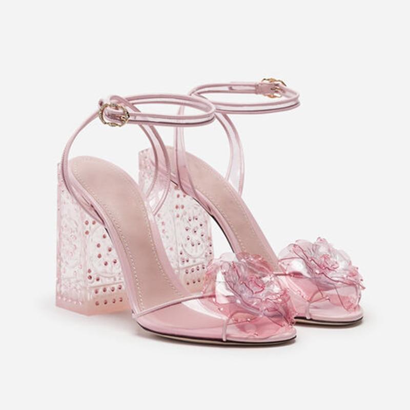 Sandalias de gelatina con flores rosas de talla grande para mujer zapatos de novia tacones altos transparentes