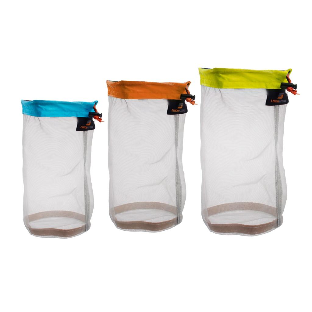 3 Sizes Outdoor Travel Camping Mesh Stuff Sack Drawstring Bags