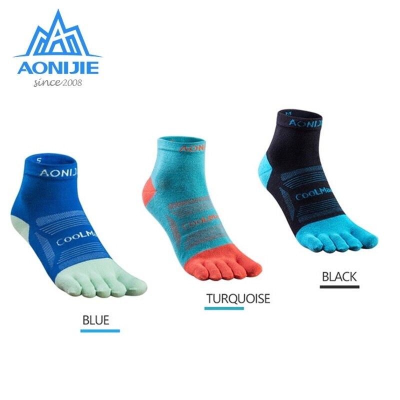 3 pares AONIJIE E4802 Running Low Cut Athletic cinco dedos calcetines Lycra Run Toesocks separador calcetines para correr maratón carrera Trail