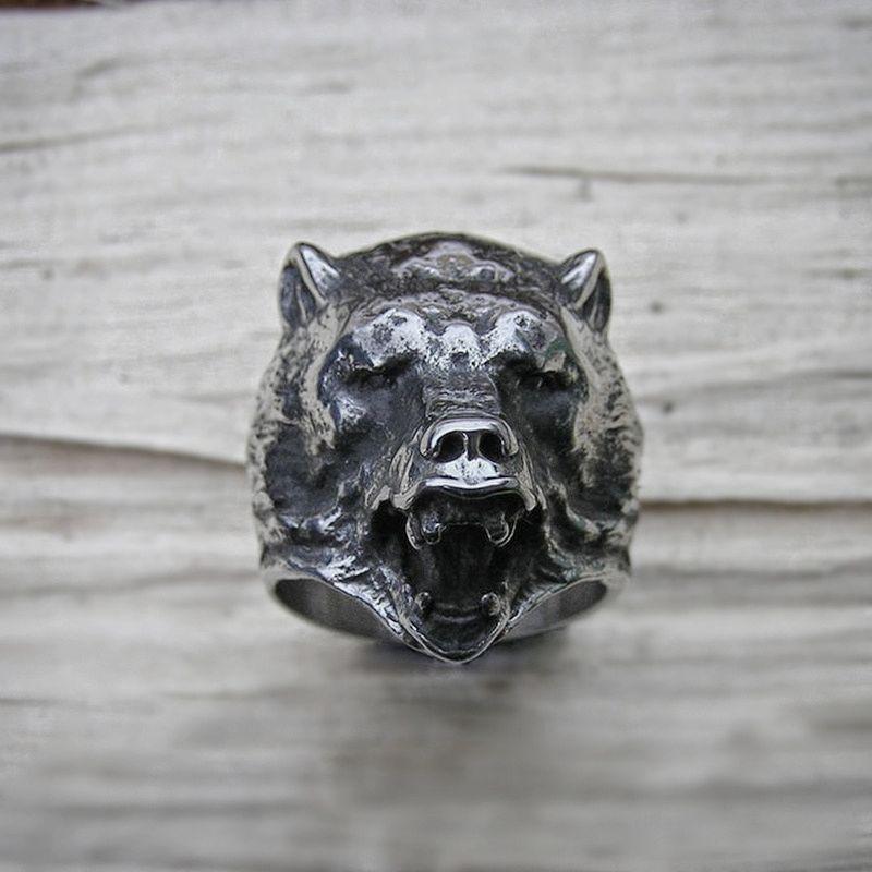 Anillo maestro bosque oso eslavo Berserk Acero inoxidable anillo de ciclista hombres vikingo joyas de amuleto