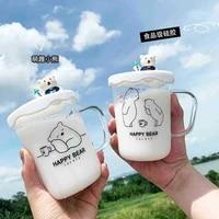 450ml korean cute polar bear glass transparent mugs high borosilicate glass with lid business office milk coffee cup