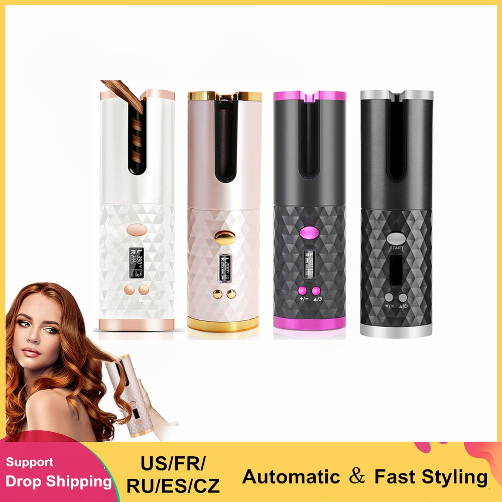 AliExpress - LCD Automatic Hair Curler Rotating Curling Iron Ceramic Professional Heating Hair Stick Portable Air Spin Curl For All Hair Type