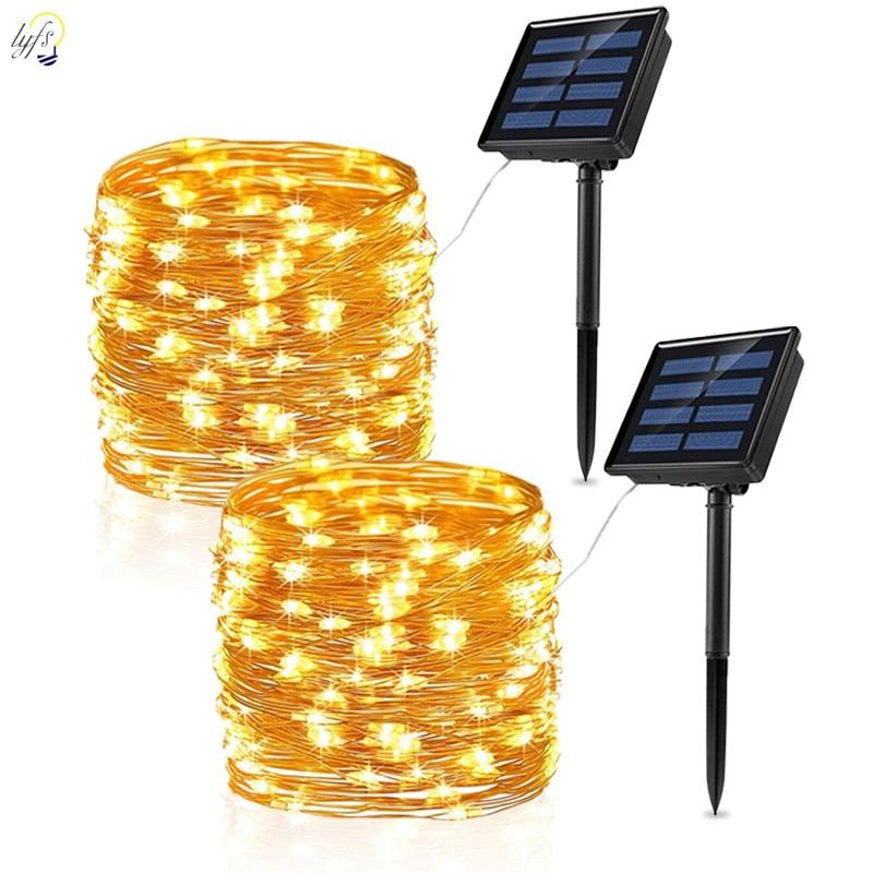 LED Solar Light Outdoor Waterproof Fairy Garland String Lights Christmas Party Garden Solar Lamp Decoration 7/12/22/32/42M