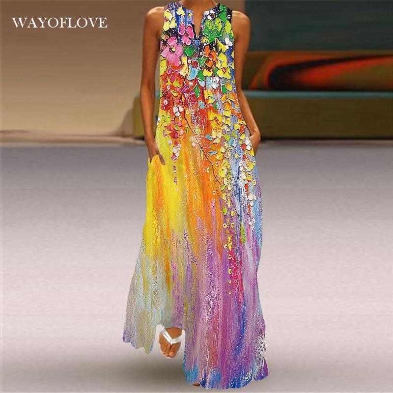 WAYOFLOVE الصيف شاطئ المرأة فستان 2021 رداء أنيق فستان طويل فساتين بلا أكمام المرأة عادية فستان الشمس خمر فساتين