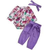 baby girls clothing set 3pcs purple print floral infant newborn girl clothes jumpsuit toddler children baby romper spring summer