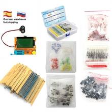 Kit de composants électroniques Total 1390 pièces diode LED Triode capacité PNP/NPN LCR TO-92 Transistor résistances ensemble pour testeur de ESR-T4