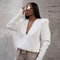 autumn 2021 women shirt long sleeve deep v neck solid color elastic casual party street short tops