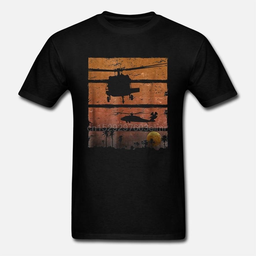 Sunset Dustoff Uh-60 Blackhawk helicóptero Medevac camiseta moda nuevo verano clásico Color sólido manga corta suelta cráneo T