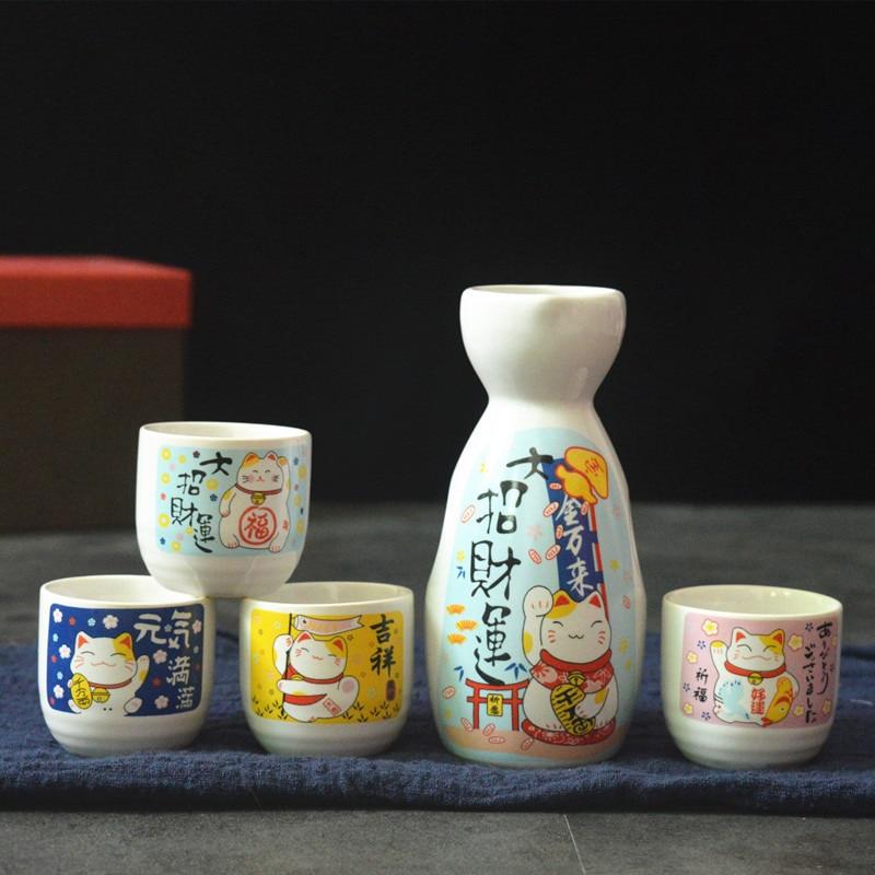 5-قطعة النبيذ مجموعة اليابانية نيكو Maneki السيراميك أجل مجموعة (1 TOKKURI زجاجة 200 مللي و 4 OCHOKO كوب) محظوظ القط Drinkware