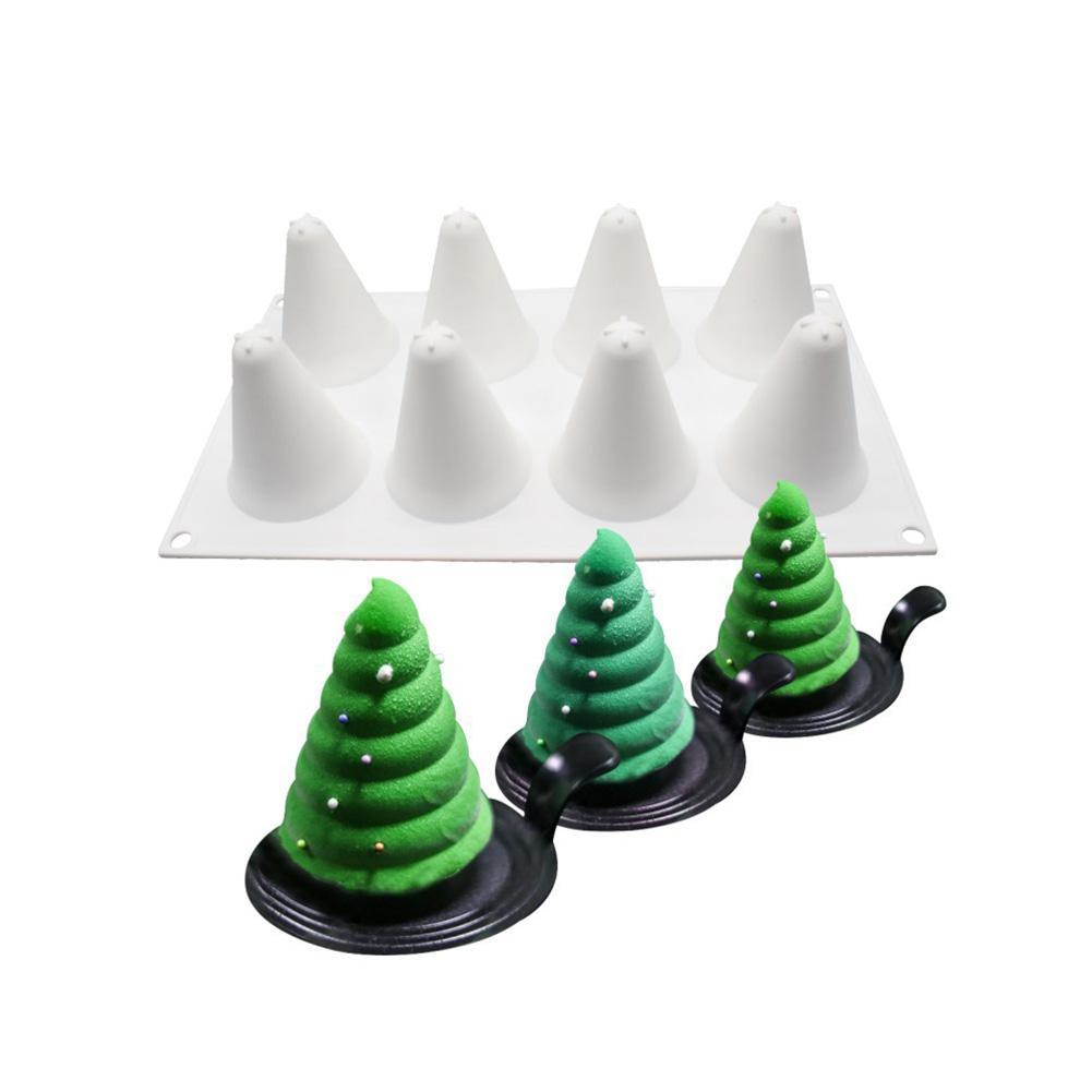 Árbol Navidad silicona molde pastel decoración de pasteles y galletas pastel fondant de chocolate moldes antiadherente DIY herramienta para hornear
