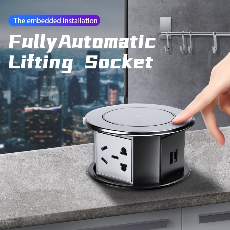 Electric lifting socket embedded intelligent kitchen office desktop automatic extension cable island power row plug green
