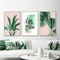 nordic style watercolor plant leaves minimalist poster wall art canvas prints wall picture for living room modern home decor