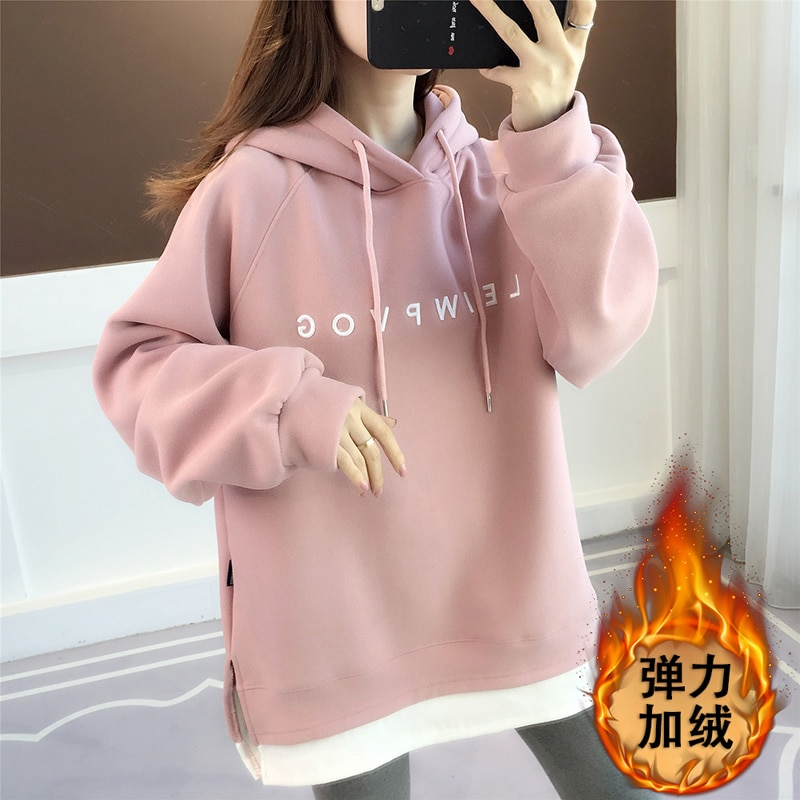 Winter womens new sweater autumn and winter plus velvet thick loose korean wild coat foreign style
