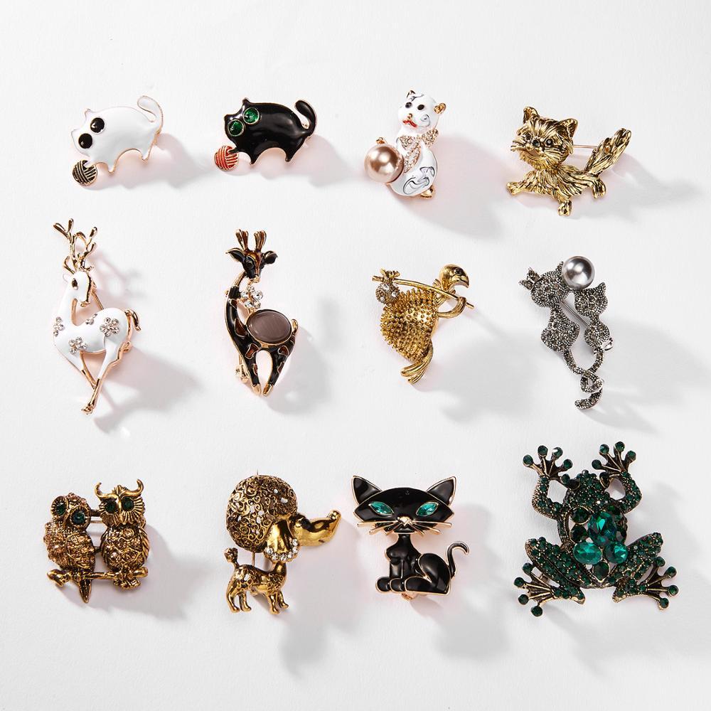 Rinhoo animado gato Navidad pequeño venado tortuga búho perro Rana Animal broches para fiesta cristal esmalte alfileres mujer joyas insignias