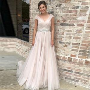 Weilinsha A-line Cap Sleeves Baby Pink Wedding Dresses Beadings Buttons Bridal Gowns Illusion Vestidos De Novia Robe De Mariee