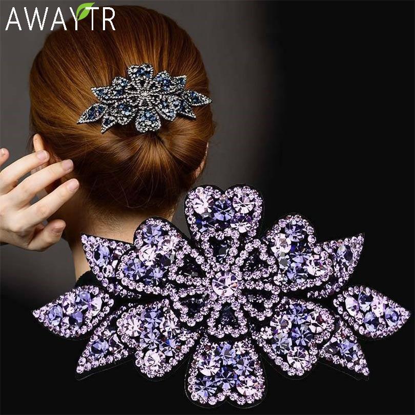 aliexpress.com - AWAYTR Crystal Flower Barrettes Hair Clips for Women Vintage Rhinestone Hairpins Headwear Girls Hair Accessories Jewelry Clips