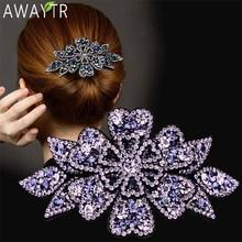 AWAYTR Crystal Flower Barrettes Hair Clips for Women Vintage Rhinestone Hairpins Headwear Girls Hair Accessories Jewelry Clips
