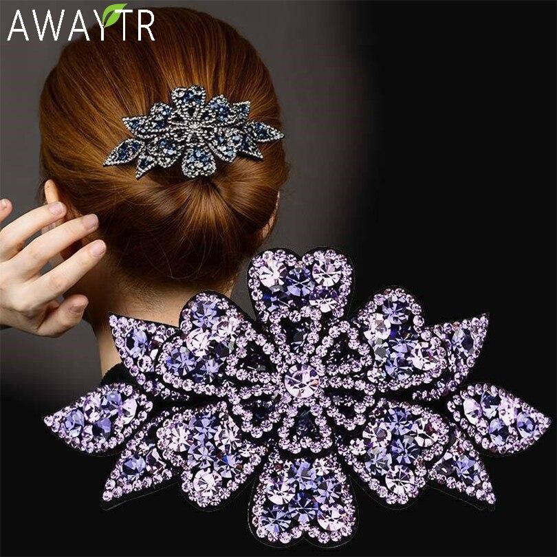 AWAYTR Kristall Blume Barrettes Haar Clips für Frauen Vintage Strass Haarnadeln Headwear Mädchen Haar Zubehör Schmuck Clips