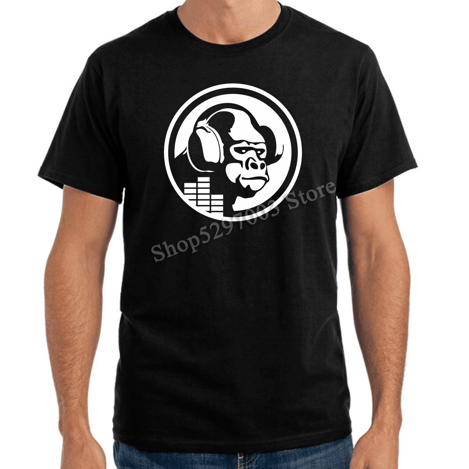 Auriculares gorila mono Funky casa Club de música Dj ranura de diseño de Radio camiseta Camiseta estilo urbano camisa